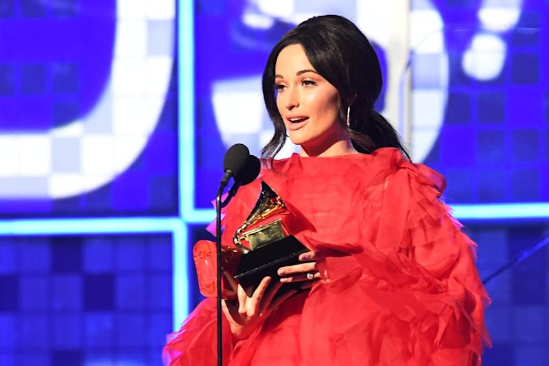 "Country star Kacey Musgraves accepts the Album of the Year Grammy for ""Golden Hour"""
