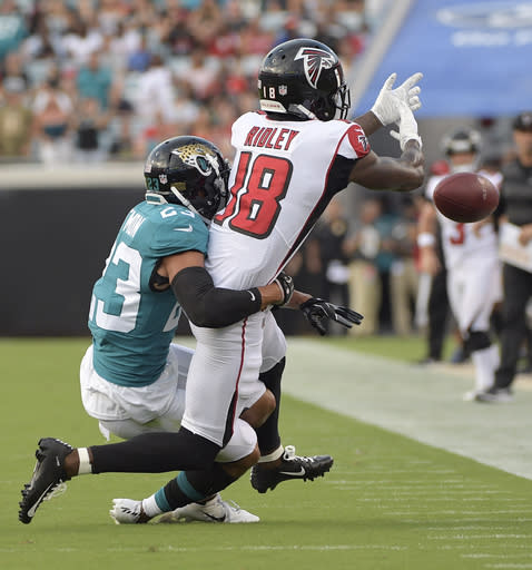 Jacksonville Jaguars defensive back Tyler Patmon, left, breaks up a pass intended for Atlanta Falcons wide receiver Calvin Ridley (18) during the first half of an NFL preseason football game Saturday, Aug. 25, 2018, in Jacksonville, Fla. (AP Photo/Phelan M. Ebenhack)