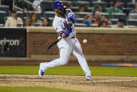 New York Mets' Jonathan Villar hits a home run during the seventh inning of a baseball game against the Pittsburgh Pirates, Friday, July 9, 2021, in New York. (AP Photo/Frank Franklin II)