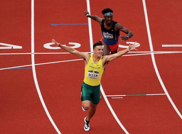 Devon Allen wins the men's 110m hurdles at the U.S. Olympic track and field trials on July 9, 2016 in Eugene, Oregon (AFP Photo/Cliff Hawkins)