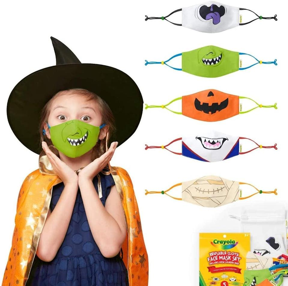 <p>Why not incorporate your kiddo's face covering into their costume using the <span>Crayola Halloween Reusable Cloth Kids' Face Mask Set</span> ($24, originally $30)? There are so many designs to choose from!</p>