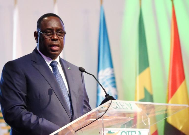 President Macky Sall, pictured in March 2017, visited the site of the fire that killed at least 25 people at a Muslim religious retreat in Senegal
