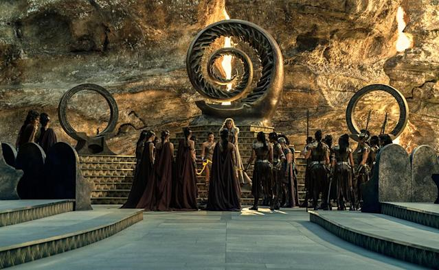 "<p>Diana, Hippolyta, and their formidable female cohort gather together to decide the fate of the captive Trevor <span>— kill him or send him back to what they call ""Man's World.""</span> (Photo: Warner Bros.) </p>"