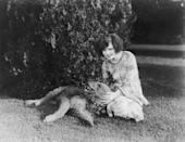 """<p>Clara Bow was one of the top film stars in the '30s, as she was able to make the transition from silent films to """"talkies."""" Here, the actress is seen playing with her beloved Airedale Terrier. </p>"""