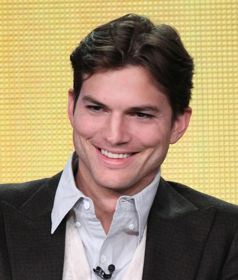 """PASADENA, CA - JANUARY 11: Ashton Kutcher of the television show """"Two And A Half Men"""" speaks during the CBS portion of the 2012 Television Critics Association Press Tour at The Langham Huntington Hotel and Spa on January 11, 2012 in Pasadena, California.  (Photo by Frederick M. Brown/Getty Images)"""