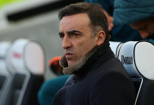"Soccer Football - Premier League - Brighton & Hove Albion vs Swansea City - The American Express Community Stadium, Brighton, Britain - February 24, 2018 Swansea City manager Carlos Carvalhal before the match REUTERS/Hannah McKay EDITORIAL USE ONLY. No use with unauthorized audio, video, data, fixture lists, club/league logos or ""live"" services. Online in-match use limited to 75 images, no video emulation. No use in betting, games or single club/league/player publications. Please contact your account representative for further details."