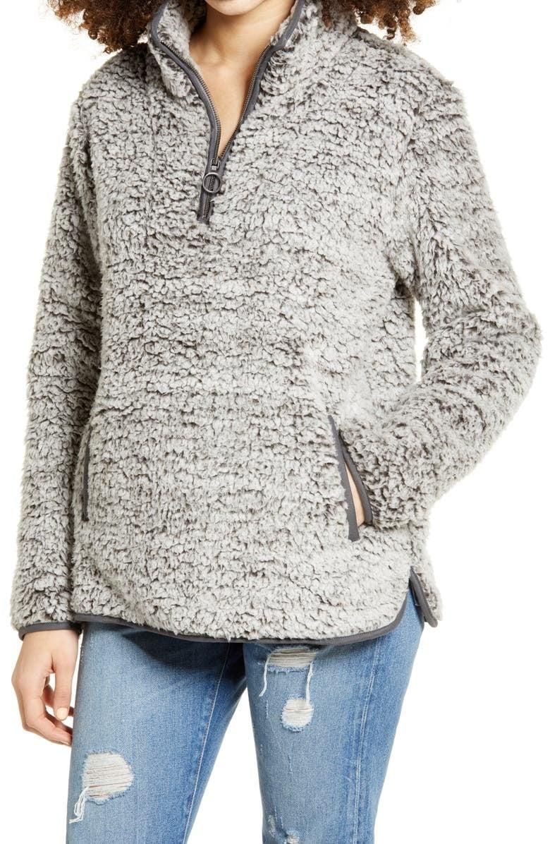 <p>Stay warm and cozy in the <span>Thread &amp; Supply Wubby Fleece Pullover</span> ($40, originally $78).</p>