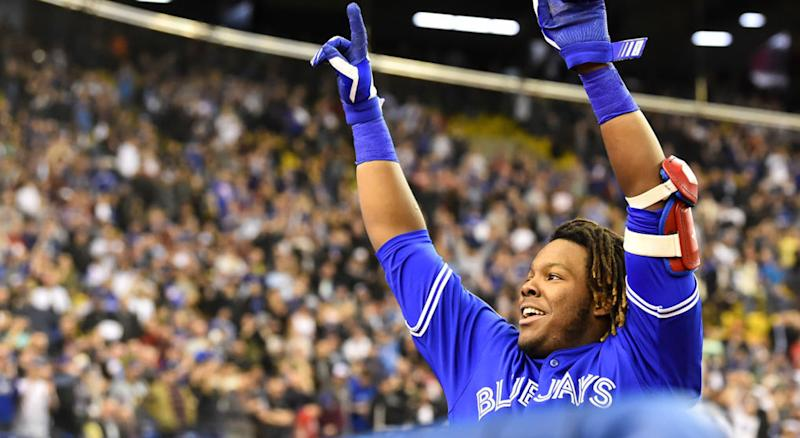 Vladimir Guerrero Jr. created had baseball fans freaking out online. (Getty Images)