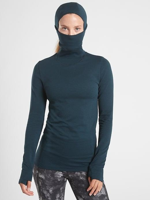 <p>You can stay warm and safe this winter while working out outdoors with this <span>Athleta Flurry Balaclava Chevron Shine</span> ($98).</p>