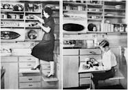 <p>While we can't speak to the safety of pull-out steps that function as an eating surface (let alone speak to the hygienic impact), but the '50s were all about innovations ... quite often for the sake of innovations.</p>