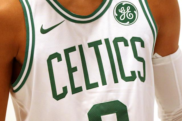 Boston Celtics rookie Jayson Tatum's jersey during Celtics Media Day on September 25, 2017, with GE sponsor patch that is a new addition this season. (Maddie Meyer/Getty Images)