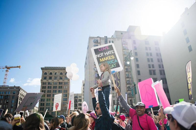 Hollywood stars joined thousands during the Women's March in LA (Getty Images)