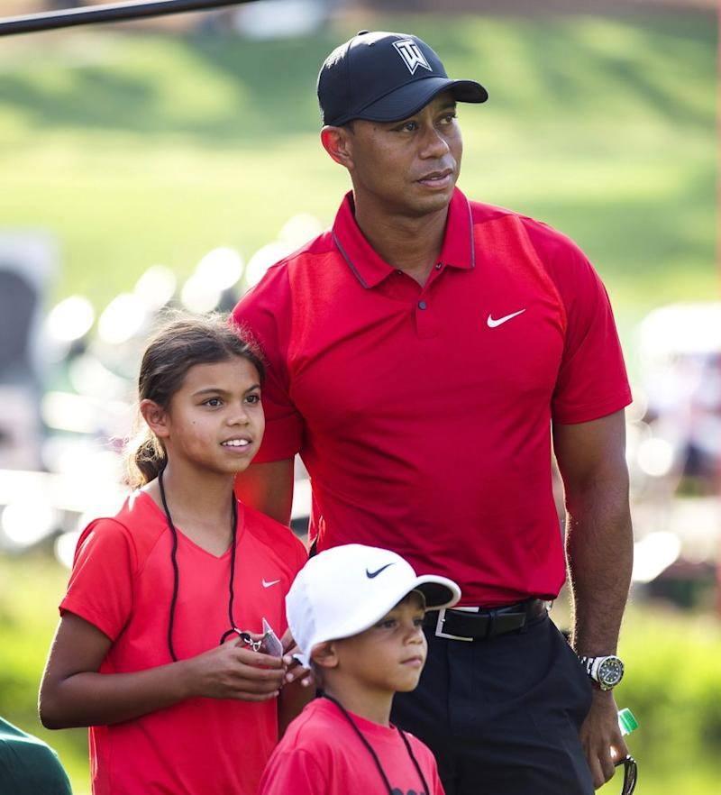 Mandatory Credit: Photo by Jim Lo Scalzo/EPA/REX/Shutterstock (8460052j) Tiger Woods and his children, Sam and Charlie | Lo Scalzo/EPA/REX/Shutterstock