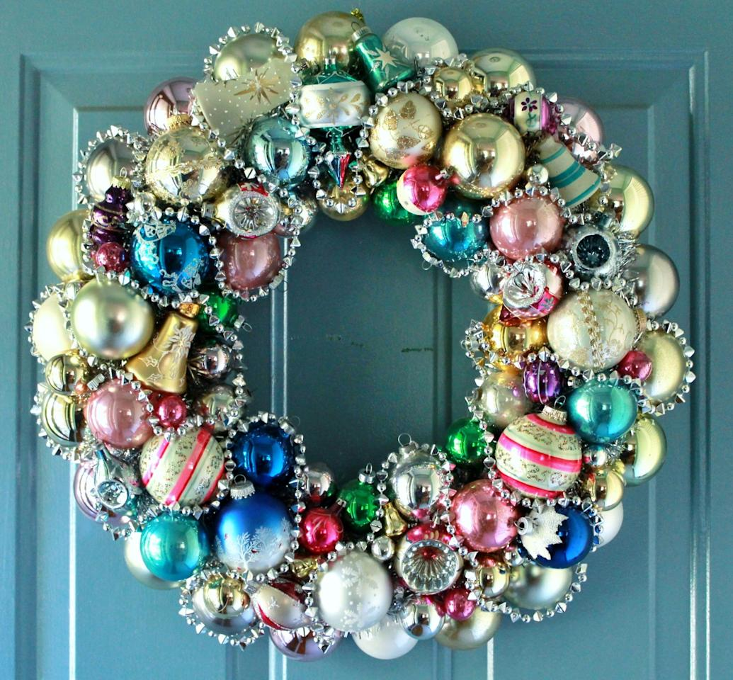 "<p>Create an amazing merry and bright wreath by mixing together lots of bright baubles<a rel=""nofollow"" href=""https://www.flickr.com/photos/38474177@N07/9935020075/""><em>. [Photo: Judith Cole Blank/ Flickr]</em></a> </p>"