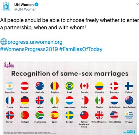 UN Women tweeted its graph on marriage equality designating Taiwan as a province of China. Photo: Twitter
