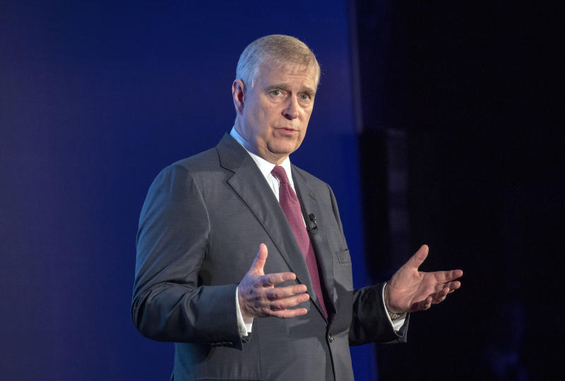 LONDON, ENGLAND - JUNE 12: Prince Andrew, Duke of York speaks as he hosts a Pitch@Palace event at Buckingham Palace on June 12, 2019 in London, England. (Photo by Steve Parsons – WPA Pool/Getty Images)