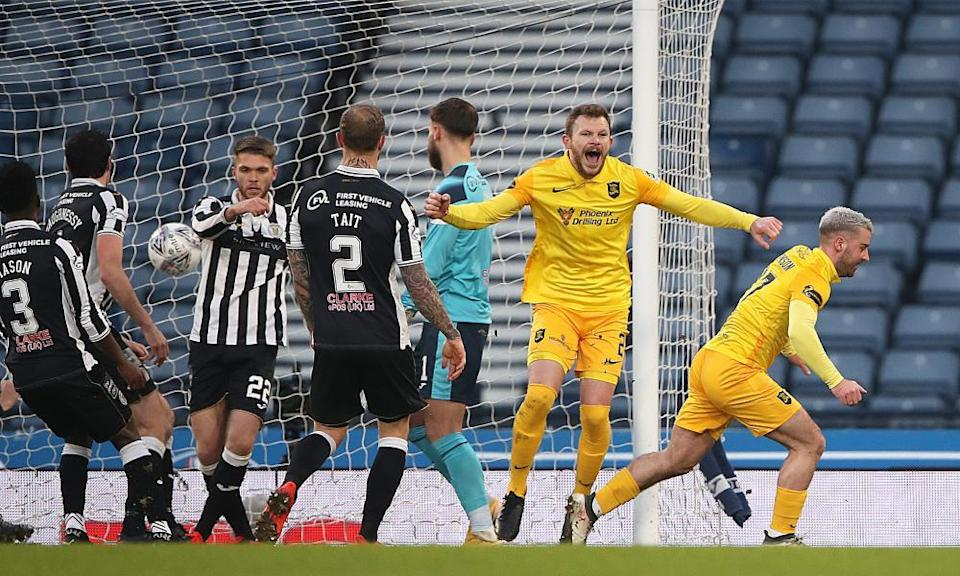 Scott Robinson celebrates scoring the only goal of the game against St Mirren in Livingston's League Cup semi-final