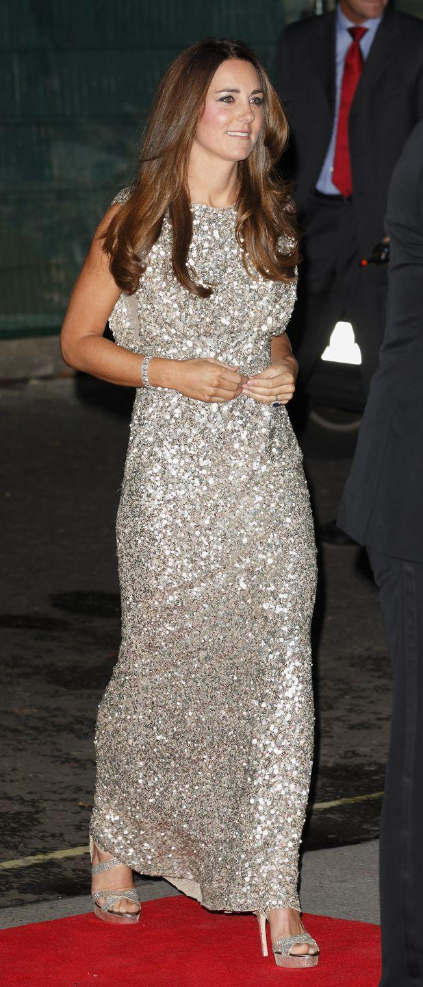 <p>Ditching her usually demure style, Kate made a pretty bold statement with this bright head-to-toe sequin dress that she wore to an awards ceremony in 2013. </p>