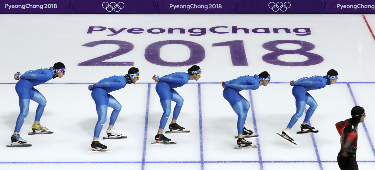 <p>Skaters of Italy practice the men's team pursuit at the Gangneung Oval at the 2018 Winter Olympics in Gangneung, South Korea, Saturday, Feb. 17, 2018. (AP Photo/Eugene Hoshiko) </p>