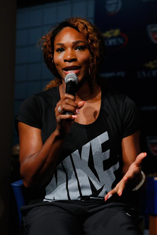 NEW YORK, NY - AUGUST 22: Serena Williams of the United States talks to the media during the Draw Ceremony prior to the start of the 2013 US Open at the USTA Billie Jean King National Tennis Center on August 22, 2013 in New York City. (Photo by Mike Stobe/Getty Images for the USTA)