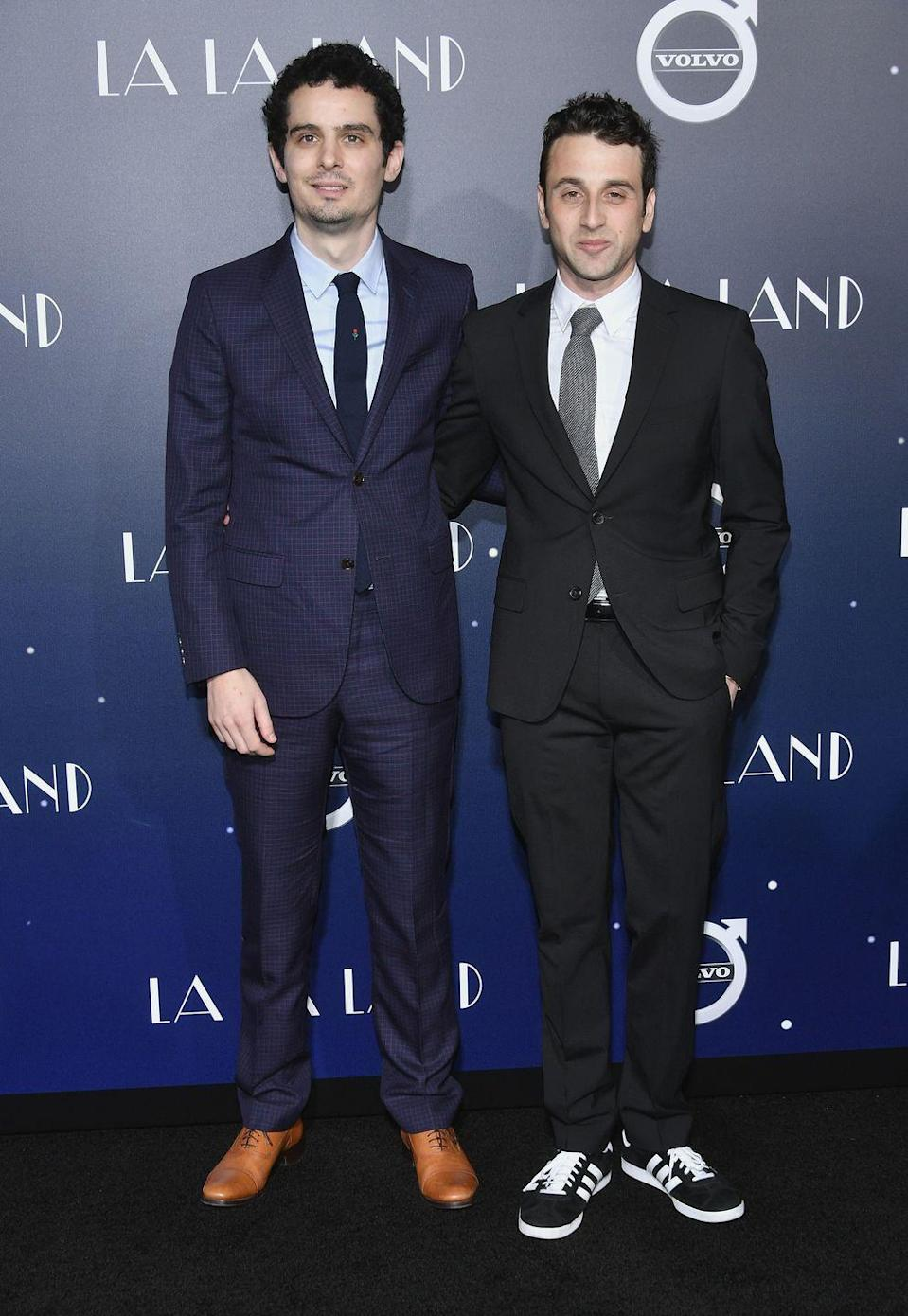 """<p><em>La La Land</em> director Damien Chazelle and music composer Justin Hurwitz were roommates in college. According to <a href=""""http://variety.com/2016/artisans/production/damien-chazelle-la-la-land-composer-1201931463/"""" rel=""""nofollow noopener"""" target=""""_blank"""" data-ylk=""""slk:Variety"""" class=""""link rapid-noclick-resp""""><em>Variety</em></a>, they became friends freshman year and went on to start a band together called Chester French during their sophomore year. The two began working on<em> La La Land </em>back in 2010.</p>"""