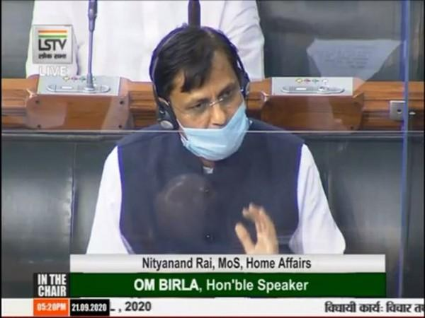 Minister of State for Home Nityanand Rai speaking in Lok Sabha on Monday.