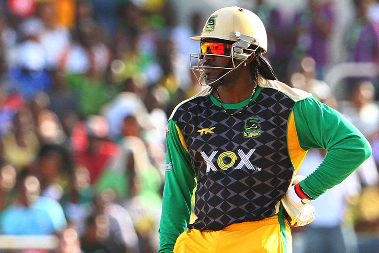 KINGSTON, JAMAICA - AUGUST 15: Chris Gayle during the Sixteenth Match of the Cricket Caribbean Premier League between Jamaica Tallawahs v Guyana Amazon Warriors at Sabina Park on August 15, 2013 in Kingston, Jamaica. (Photo by Ashley Allen/Getty Images Latin America for CPL)
