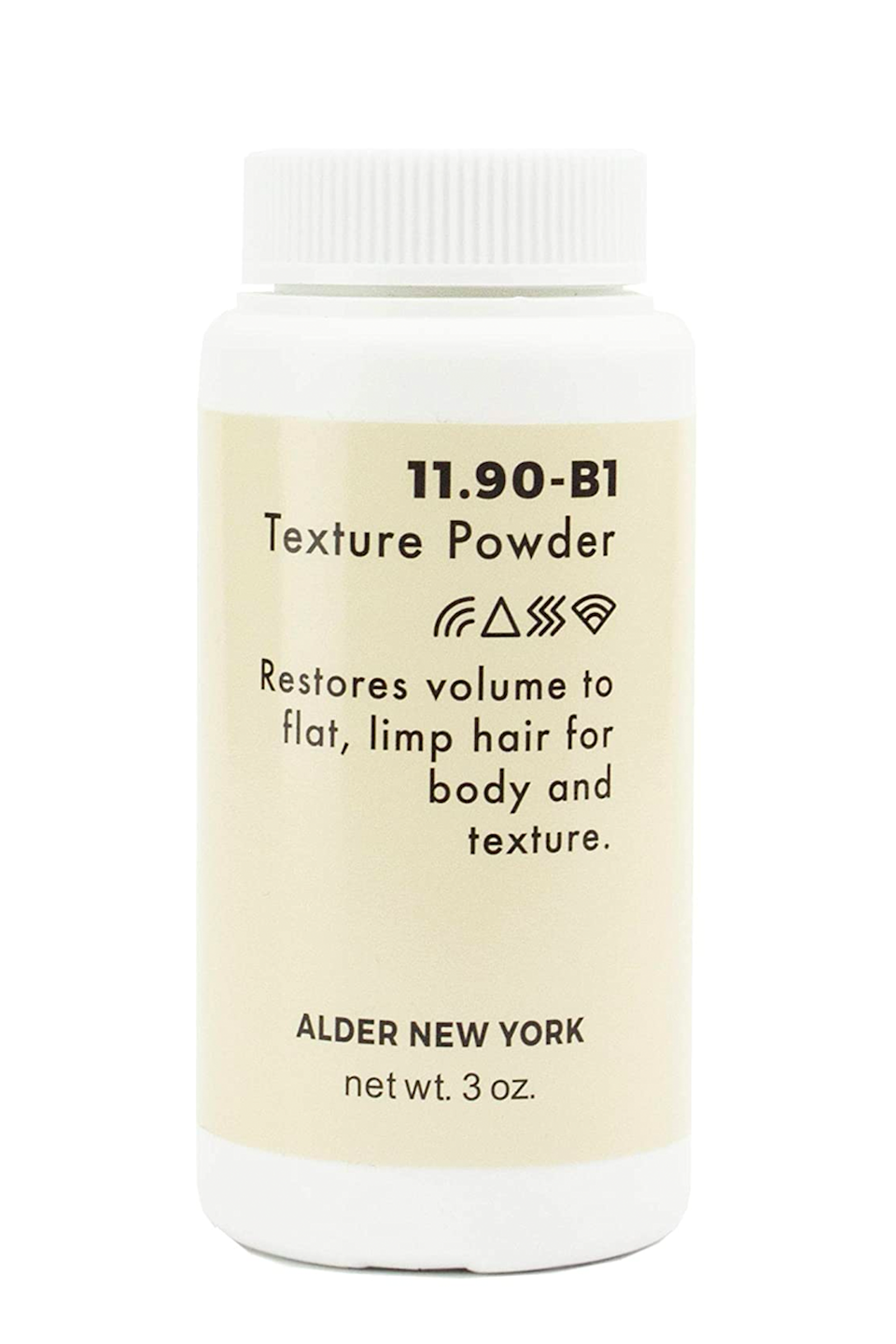 """<p><strong>Alder New York</strong></p><p>amazon.com</p><p><strong>$27.00</strong></p><p><a href=""""https://www.amazon.com/dp/B07H9KDQB7?tag=syn-yahoo-20&ascsubtag=%5Bartid%7C10049.g.34362098%5Bsrc%7Cyahoo-us"""" rel=""""nofollow noopener"""" target=""""_blank"""" data-ylk=""""slk:Shop Now"""" class=""""link rapid-noclick-resp"""">Shop Now</a></p><p>Other than the fact that the packaging is so cute (I mean, <em>look</em> at it), this hair volume powder is also <strong>loved for its ability to add body and volume with ease</strong>. The magic is chalked up to the kaolin and sea clay in the formula (which is 100 percent natural, BTW), both of which help add instant <a href=""""https://www.cosmopolitan.com/style-beauty/beauty/a31956130/hair-types/"""" rel=""""nofollow noopener"""" target=""""_blank"""" data-ylk=""""slk:texture"""" class=""""link rapid-noclick-resp"""">texture</a>.</p>"""