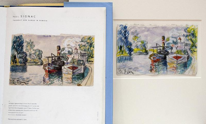 A print in a book shows a work by French painter Paul Signac, left, and the forged version and painted by art forger Mark A. Landis, of Laurel, Miss., right, at the University of Cincinnati in Cincinnati, Ohio on Tuesday, March 27, 2012. The work of the convincing art forger who has spent nearly three decades copying artists like Picasso and donating his fake art to unsuspecting museums goes on display April Fool's Day. The University of Cincinnati exhibit will explore the problem of art forgery through a look at the unusual story of Landis. (AP Photo/Dottie Stover-University of Cincinnati)
