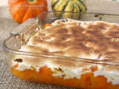 "<p>Yams with marshmallows are a Thanksgiving staple, but the whole side dish is super high in carbs and sugar. Luckily, this makeover from <a href=""https://ketodietapp.com/Blog/lchf/Candied-Yams-with-Marshmallows"" rel=""nofollow noopener"" target=""_blank"" data-ylk=""slk:Keto Diet App"" class=""link rapid-noclick-resp"">Keto Diet App</a> has all the sweet flavor you want from erythritol (or stevia) but for just 5.1 grams of net carbs and 2.5 grams of sugar a serving. YAAAAS.</p>"