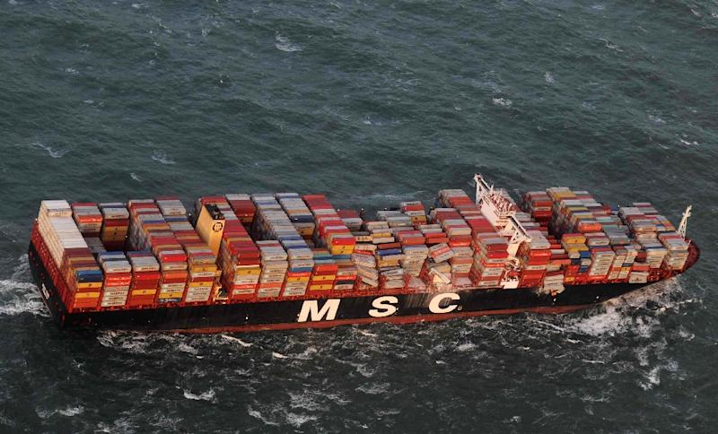 Container ship MSC Zoe lost up to 270 containers in the storm, seen here in a photo by the Central command for maritime emergencies (Havariekommando) (AFP Photo/-)