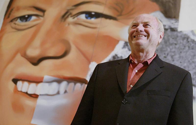 "James Rosenquist stands in front of his painting ""Elect President"": AFP/Getty Images"