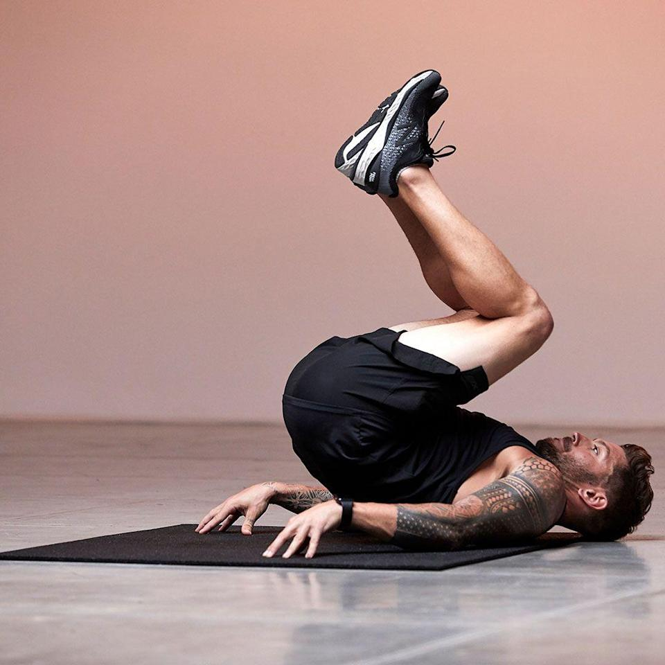 <p>Lay on your back, with hands at your sides and feet planted. Pick your hips up off the ground, curling knees up toward your chest with control and engage abs. Lower and repeat. To make it more challenging pick your shoulders up off the floor</p>
