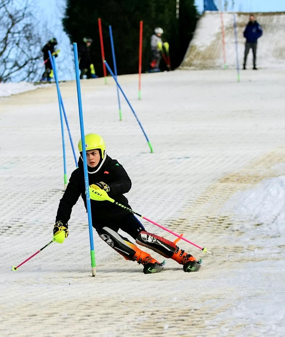Eddie 'The Eagle' Edwards has backed schoolboy skiing ace George Brown in his bid for future Winter Olympic glory. The 13-year-old is the country's top under-14 ski-racer who also competes on indoor dry slopes and slalom races across Europe. George and his dad Stuart, 46, have turned the garden of their home in Moseley, Birmingham, into a mini snow slope complete with jump off the back steps. His dedication to skiing has been noticed by legendary ski-jumper Eddie 'The Eagle' Edwards who is throwing his weight behind the youngster.