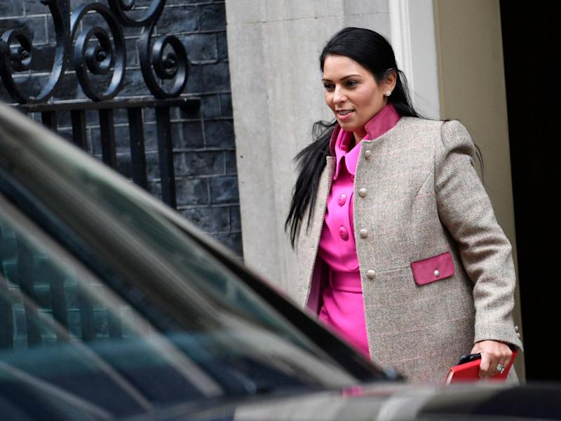Priti Patel leaves Downing Street after a cabinet meeting in London: EPA