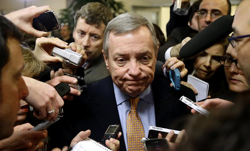 Senate Majority Whip Richard Durbin of Ill., pauses while speaking to the reporters on Capitol Hill Tuesday, Nov. 13, 2012, in Washington, as the lame duck 112th Congress returned. (AP Photo/Alex Brandon)
