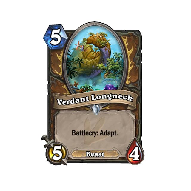 <p>Much like Discover, Adapt is a new keyword that gives players an option between three choices. But instead of a new card like Discover, Adapt gives the minion a new ability. Verdant Longneck is the first revealed card with the new keyword ability, so we've listed all the Adapt abilities in the next few slides. As for the Longneck himself, five mana for a 5/4 isn't too exciting, but the option to respond to the board with Adapt does seem tempting. </p>