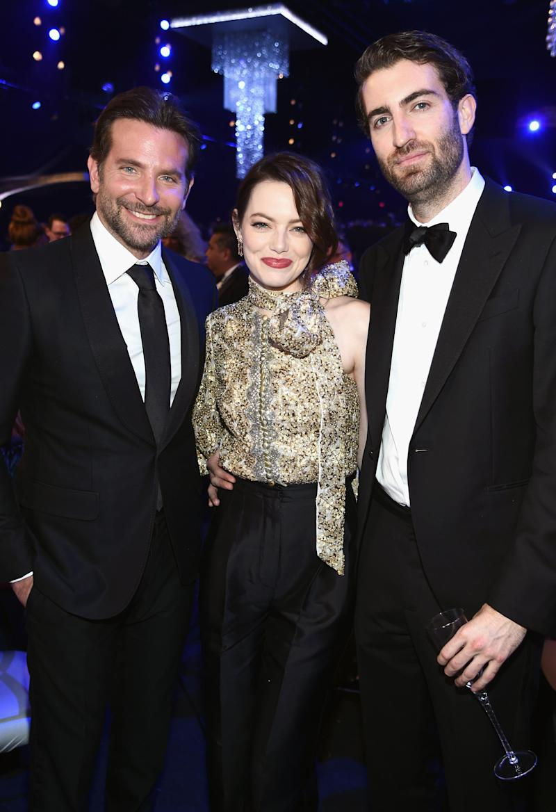 Bradley Cooper, Emma Stone and Dave McCary at the 25th annual Screen Actors Guild Awards in 2019. (Photo: Dimitrios Kambouris via Getty Images)