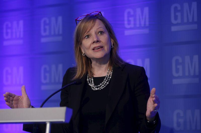 General Motors Co., CEO Mary Barra addresses the media before the start of the annual GM Shareholders meeting at GM world headquarters in Detroit,
