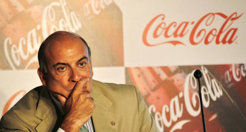 Coca-Cola Co. Chairman and CEO Muhtar Kent pauses during a meeting in New Delhi, India, Tuesday, June 26, 2012. The world's biggest beverage maker plans to invest US$5 billion in India from 2012 to 2020. (AP Photo/Manish Swarup)