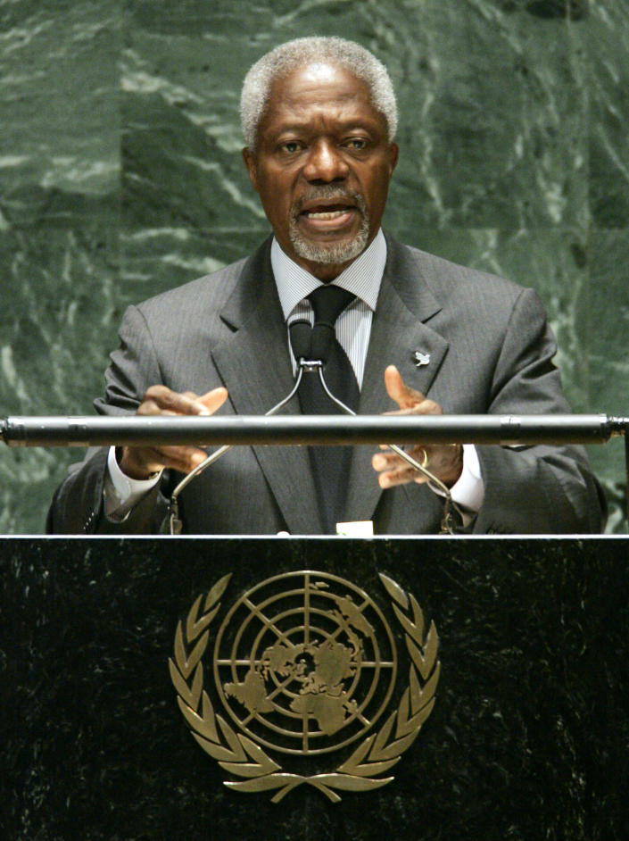 FILE - In this Monday May 2, 2005 file photo U.N. Secretary-General Kofi Annan addresses a conference to review to review the Nuclear Nonproliferation Treaty at the United Nations headquarters in New York. Annan, one of the world's most celebrated diplomats and a charismatic symbol of the United Nations who rose through its ranks to become the first black African secretary-general, has died. He was 80. (AP Photo/Richard Drew, File)