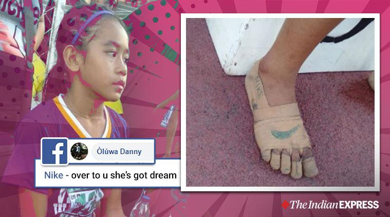 Girl wears bandages as shoes, Nike shoes, Nike shoe bandages, Philippines, Trending Indian express news