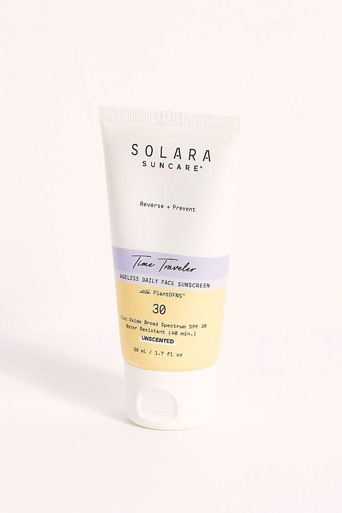 """<h3>Solara Suncare Time Traveler Ageless Daily Face Sunscreen<br></h3><br>Another Dr. Zeichner fave: this indie Solara formula with zinc oxide and soothing botanicals. <br><br><strong>Solara Suncare</strong> Time Traveler Ageless Daily Face Sunscreen, $, available at <a href=""""https://go.skimresources.com/?id=30283X879131&url=https%3A%2F%2Ffave.co%2F3biDpZT"""" rel=""""nofollow noopener"""" target=""""_blank"""" data-ylk=""""slk:Free People"""" class=""""link rapid-noclick-resp"""">Free People</a>"""