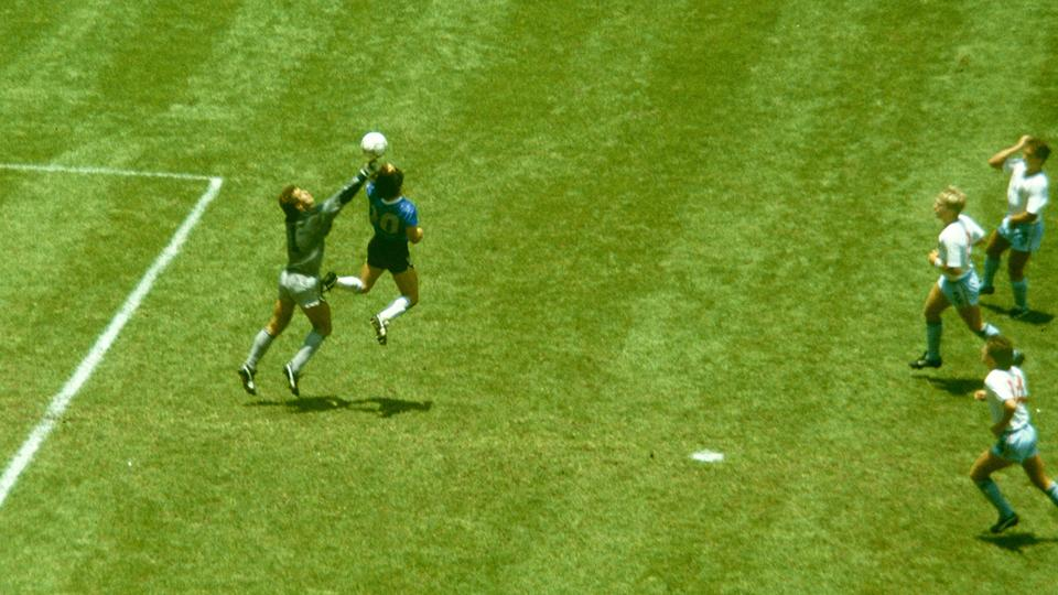 Diego Maradona, pictured here in action at the 1986 FIFA World Cup against England.