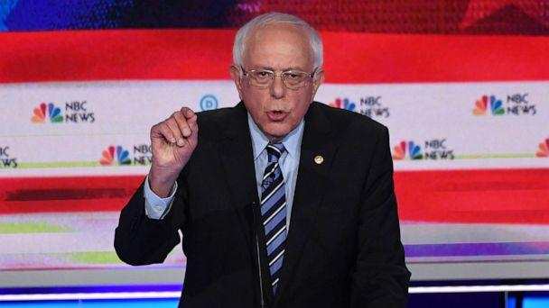 PHOTO: Bernie Sanders participates in the second night of the first 2020 democratic presidential debate at the Adrienne Arsht Center for the Performing Arts in Miami, June 27, 2019. (Saul Loeb/AFP/Getty Images)