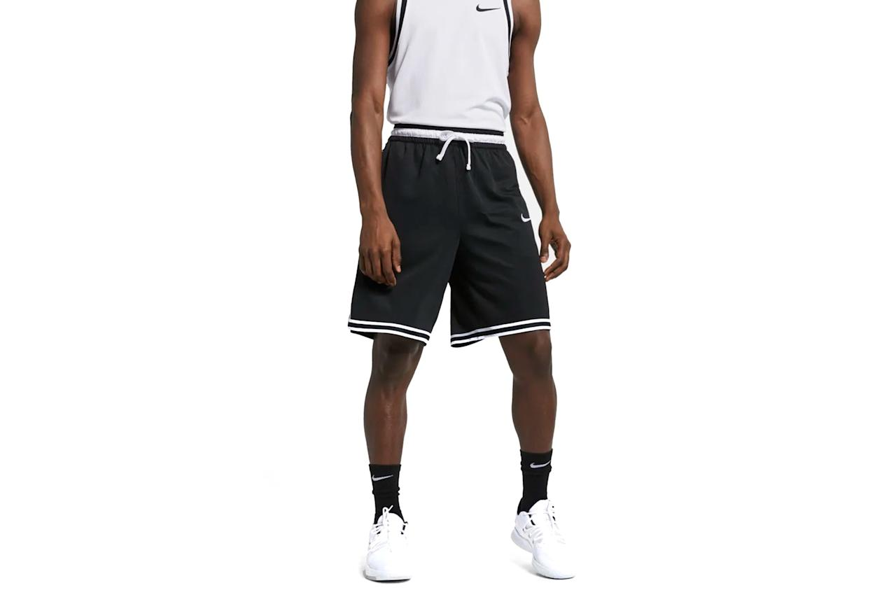 "$45, Nike. <a href=""https://www.nike.com/t/dri-fit-dna-mens-basketball-shorts-Xrdqvh/AT3150-010"">Get it now!</a>"