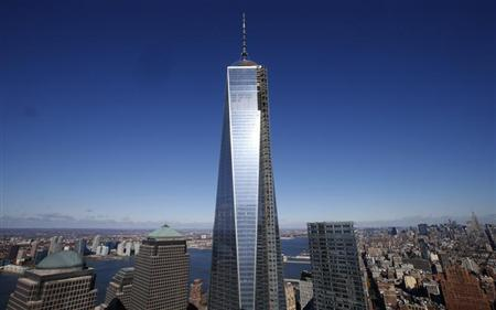 One World Trade Center tower is seen in this picture taken from the 57th floor of the soon to be opened 4 World Trade Center tower in New York