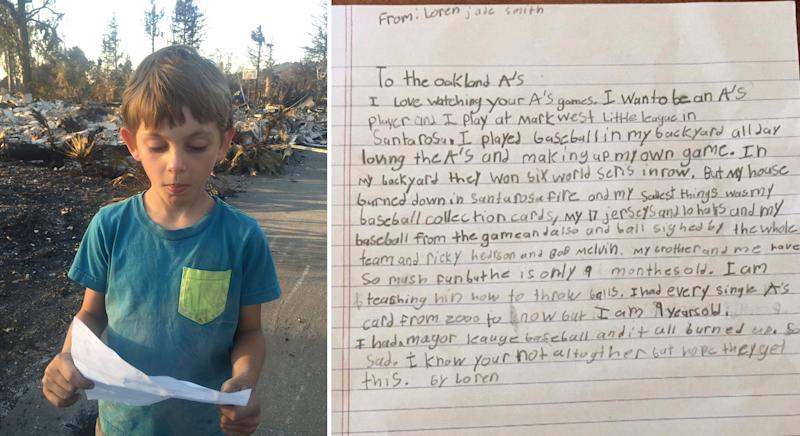 Baseball fan, 9, writes letter to team after losing memorabilia to wildfire