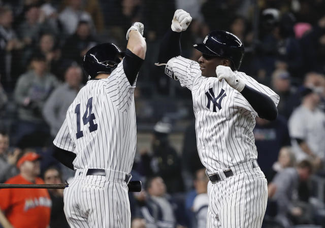 New York Yankees' Didi Gregorius, right, celebrates with Neil Walker (14) after hitting a solo home run against the Baltimore Orioles during the eighth inning of a baseball game Friday, April 6, 2018, in New York. (AP Photo/Julie Jacobson)