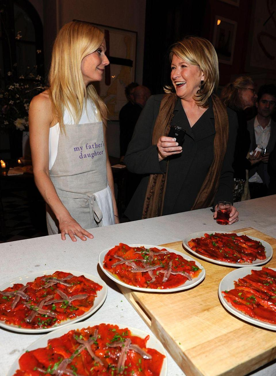 """<p>The drama didn't end there, with Martha posting a pie recipe spread called <a href=""""https://www.huffpost.com/entry/martha-stewart-gwyneth-paltrow_n_5966142"""" data-ylk=""""slk:""""Conscious Coupling"""""""" class=""""link rapid-noclick-resp"""">""""Conscious Coupling""""</a> in the November 2014 issue of <em>Martha Stewart Living — </em>a cheeky reference to Gwyneth's """"conscious uncoupling"""" announcement of her divorce from Chris Martin. A month later, Gwyneth posted her own recipe called <a href=""""https://www.usmagazine.com/celebrity-news/news/gwyneth-paltrow-shares-jailbird-cake-recipe-after-martha-stewart-dig-20142011/"""" rel=""""nofollow noopener"""" target=""""_blank"""" data-ylk=""""slk:&quot;jailbird cake,&quot;"""" class=""""link rapid-noclick-resp"""">""""jailbird cake,""""</a> a dig at Martha's time in prison for fraud charges back in 2004.</p><p><strong>RELATED: </strong><a href=""""https://www.goodhousekeeping.com/life/entertainment/g30646031/gwyneth-paltrow-goop-controversial-moments/"""" rel=""""nofollow noopener"""" target=""""_blank"""" data-ylk=""""slk:Gwyneth Paltrow's Most Controversial Goop Moments Over the Years"""" class=""""link rapid-noclick-resp"""">Gwyneth Paltrow's Most Controversial Goop Moments Over the Years</a> </p>"""